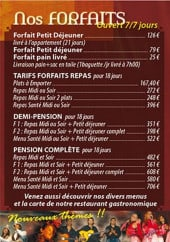 Menu Restaurant Le Borda - Les forfaits