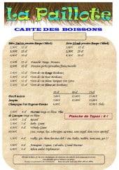 Menu La Paillote - Boissons