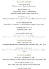 Menu Les Italiens - Les entrées, carpaccios et salades