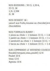 Menu Bunny Express - Les boissons, desserts, formules et viandes