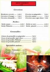Menu Restaurant Vietnam - Les crevettes, les seches, les grenouilles...