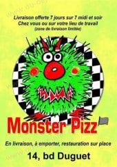Menu Monster Pizz - carte et menu Monster Pizz Montbrison