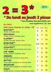 les pizzas: boston, michigan, flipper, bowling...