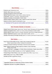 Menu La Canne A Sucs - Entrées, salades, pâtes,.....