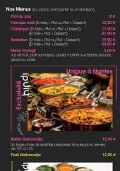 Menu Restaurant Hindi - Les menus