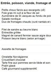 Menu Don quichotte - Le menu 35.9 €
