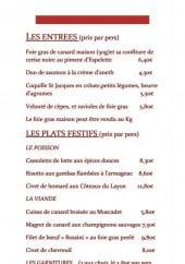 Menu Restaurant Le Chalet - Les entrées et plats