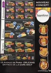Menu Kantinn - Sandwiches, burgers, spéciaux,....
