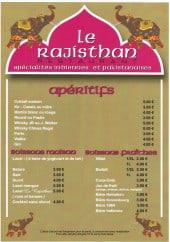 Menu Le Rajisthan - Les apéritifs, les boisson maison ...