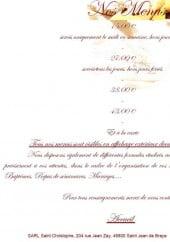 Menu Le Saint Christophe - Les menus