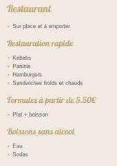 Menu New Lara - Informations sur les menus