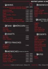 Menu Bistrot Jayan - Les paninis, kebab, nuggets...