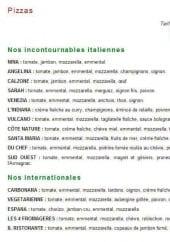 Menu Il Ristorante - Les pizzas