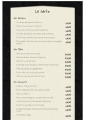 Menu Restaurant l'Escapade - Les menus à la carte