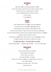 Menu Le Terminus - Les entrées, plats et desserts