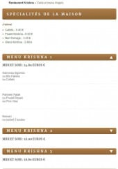 Menu Krishna - Specialites et menus