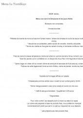 Menu Château de la Tremblaye - Le menu la Tremblaye