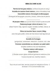 Menu Faubourg Café - Le menu du chef