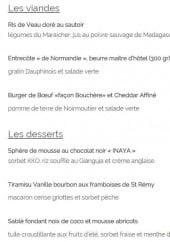 Menu La grange - Viandes, desserts
