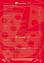 Menu Pizzéria Mateo - Les pizzas, pâtes et salades