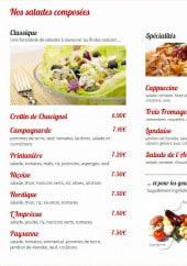 Menu Le Cappuccino - Les salades et spécialités