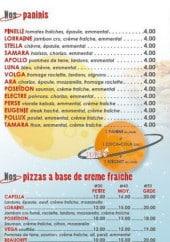 Menu Capelouna Pizza - les paninis et les pizzas à base crème  fraîche
