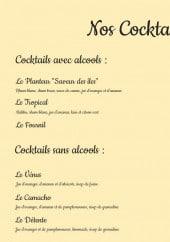 Menu Le Fournil - Cocktails