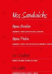 Menu La Grosse Blind - Les sandwiches