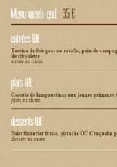 Menu La banque - Exemple menu du week end