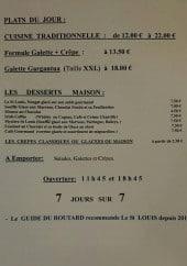 Menu Restaurant le saint louis - Les formules du jour