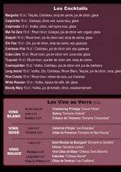 Menu Le Living Café - Les cocktails, vin au verre, champagnes et bières pressio