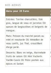 Menu Hôtel Restaurant Le Grand Cerf - Les menus
