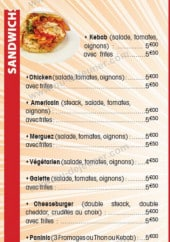 Menu L'Oasis Kébab - Les sandwiches...