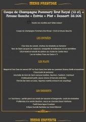 Menu Excelsior - Le menu Prestige et le menu Enfant