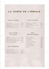 Menu L'escale - carte de L'escale Nancy