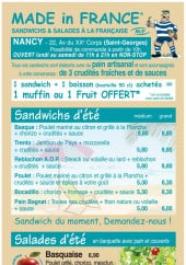 Menu Made In France - Les sandwiches, salades,....