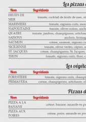 Menu Sole Mio - Pizzas de la mer, végétariens et desserts