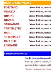 Menu Popoli Pizza - Les pizzas à base de crème fraîche