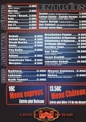 Menu Chateau kebab - Les entrées, assiettes,...