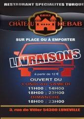 Menu Chateau kebab - Carte et menu chateau kebab luneville