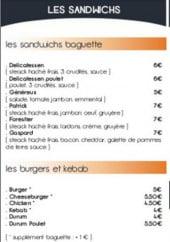 Menu Delicatessen - Les sandwiches