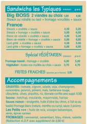 Menu Made In France - Les sandwiches les tipiques, accompagnements,...