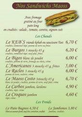 Menu Le Keb's - Les sandwichs maoss et les végétariens