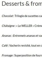 Menu L'eden - Les desserts et fromages