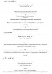 Menu L'eden - Les menus