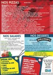 Menu Pizz'A Casa -  les pizzas, les salades, les desserts et les offres