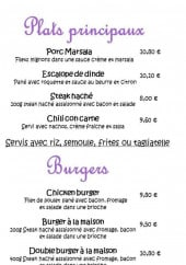 Menu Chez Nous - Plats, burgers et extras