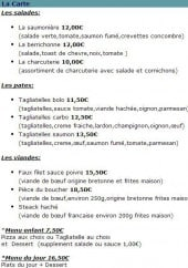 Menu L'écho cotier - Les salades, pates...