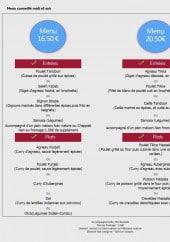 Menu Kashmir - Les menus