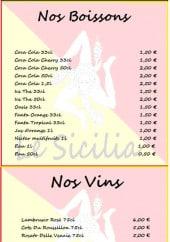Menu Le Sicilia - les boissons et vins